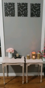 2 matching Antique Shabby Chic end tables