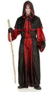 MENS DEMON ROBE HALLOWEEN DEVIL LORD EVIL SATAN FANCY DRESS COSTUME OUTFIT NEW