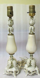 Pair Shabby & Chic French Provicial LAMP Base White Gold Metal S Kitchener / Waterloo Kitchener Area image 3