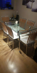 Dining table glass - includes 6 chairs-(can deliver) OBO