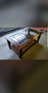 Solid Wood Rustic Coffee Table on Wheels