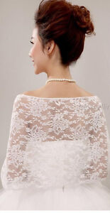 Lovely Soft Lace Bridal Shawl With Sparkle - off-White, ivory