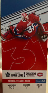 2 Billets partie hockey Canadiens Montreal/Toronto - 6 avril
