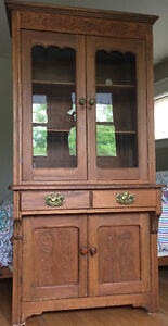 Antique oak kitchen step-back ledge cupboard