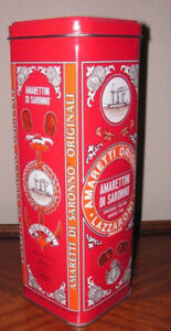 "VINTAGE RED AMARETTI DI SARONNO MILLANO TALL 10"" TIN - LAZZARONI"