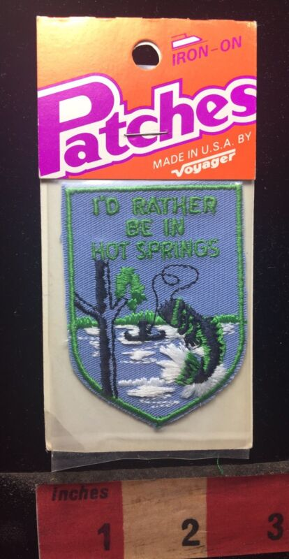 Vtg Voyager Brand HOT SPRINGS National Park In Arkansas Patch Fisherman 00WH