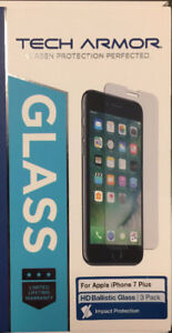 Brand New Glass Screen Protector for Iphone 7plus - 3 pack