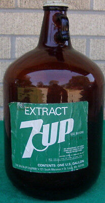 Diet 7-Up Extract Fountain Syrup One Gallon Brown Glass Bottle Paper Label Rare