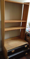 Real Wood Bookcase and Shelves Combo Unit