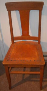 ANTIQUE VINTAGE OAK DINING OR SIDE CHAIR WITH LEATHER SEAT
