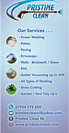 Powerwashing, gutter vaccuming, grass and hedge cutting and much more