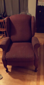 Burgundy Wing Chair/Recliner