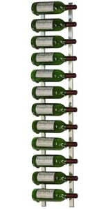 WINE RACK 4' 12 Bottle Wall Mounted Hanging Brushed Nickel NEW