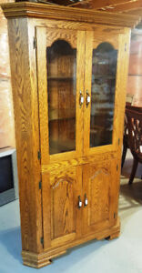 Solid Wood Cabinet 6' tall w/ glass doors EXCELLENT condition