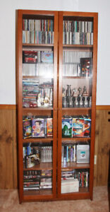 Billy bookcase with glass doors-brown
