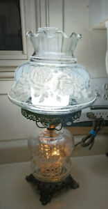Antique White Roses on Clear Glass Hurricane Shade Parlor Lamp