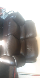Free brown leather recliner 2 seater