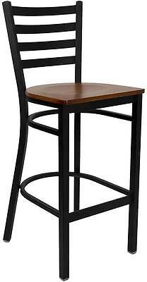 Lot Of 6 Black Ladder Back Metal Restaurant Bar Stool - Cherry Wood Seat