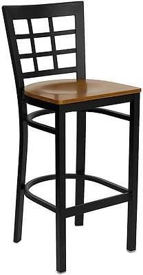 Lot Of 6 Black Window Back Metal Restaurant Bar Stool - Cherry Wood Seat