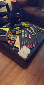 Large Tool Set + Drill + Recip Saw + Huskey Carrying Case