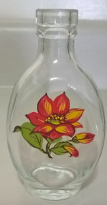 Mini Glass Bottles / Vase with Painted Flower