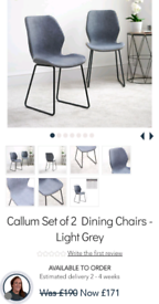 Callum Set of 2 Dining Chairs - Light Grey I have 2 sets of 2 availa