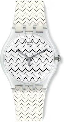 Unisex White Plastic Watch - Swatch Unisex Wavey Dots Swiss Quartz White Plastic / Silicone Watch SUOK118