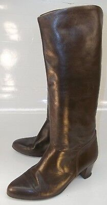 Wos US 7.5 M Smooth Brown Leather Pull On Casual Tall Heels Boots Italy 1789 Leather Pull On Heels