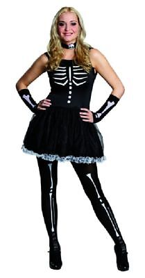 Rub - Teenager und Damen Kostüm Skelett Kleid Halsband zu Halloween