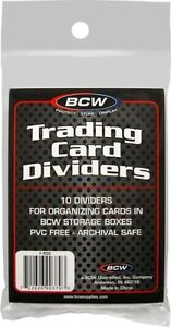 TALL CARD DIVIDERS .... BCW brand .... package of 10