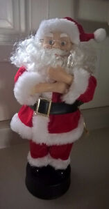 Animated Santa Claus Musical Head and Arms Moves Candle Light
