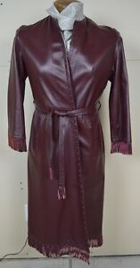 Vintage Exceptional Burgundy Leather Coat with Fringes