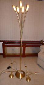 Brass Effect Ceiling Lights & Matching Standing Lamp