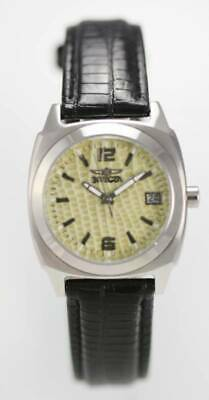 Invicta Watch Unisex Stainless Silver 100m Black Leather Date Tan Green Quartz