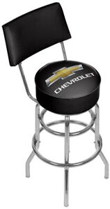 Chevrolet Padded Bar Stool with Back, Black/Silver