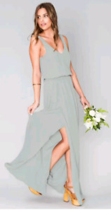 Kendall bridesmaid dress in silver sage color by mumu-$60