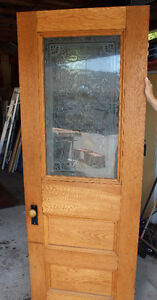 solid Oak antique door with beautiful etched glass