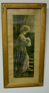 """Framed Print from early 1900's - """"The Young Mother"""""""
