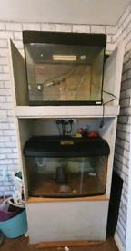 Fish tanks in cupboard