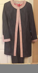 Jean Pants Suit with Pink Trimming - Size: 12