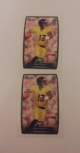 2 2013 Bowman Geno Smith White Football Rookie Cards