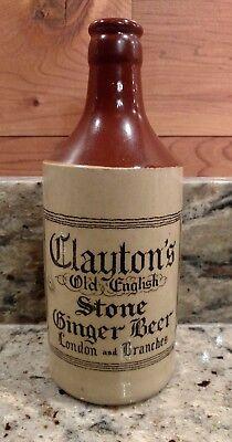 "VINTAGE CLAYTON'S OLD ENGLISH STONE GINGER BEER 8"" STONEWARE BOTTLE"