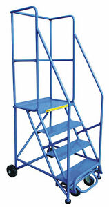 Rolling Ladder and Stock Picking Warehouse Cart