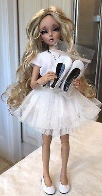 "Boneka Leather Shoes Leather Soles 57N 4 Minifee Fairyland & Kish 14"" BJD White"