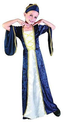 Regal Princess Blue Medieval Fancy Dress Costume All Ages