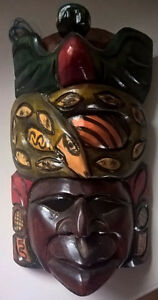 Native American Carved Wooden Totem Pole Mask with Snake.
