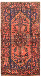 Coral and navy vintage persian rug