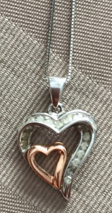 White and Rose Gold Double Heart Diamond Pendant with chain