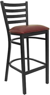 Lot Of 6 Black Ladder Back Metal Restaurant Bar Stool - Burgundy Vinyl Seat