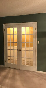 French doors with hardware